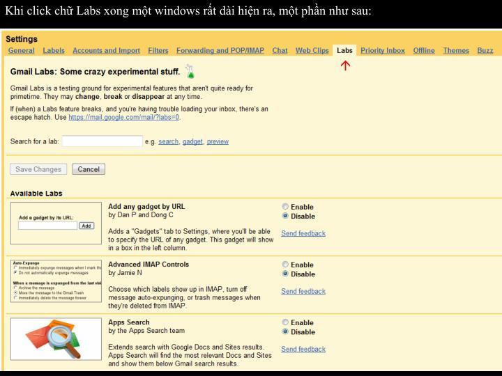 Khi click chữ Labs xong một windows rất dài hiện ra, một phần như sau: