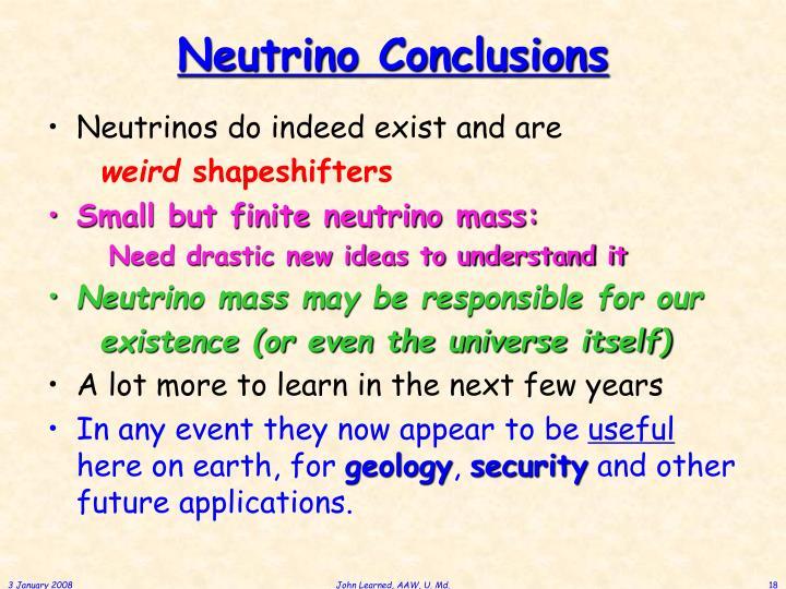 Neutrino Conclusions