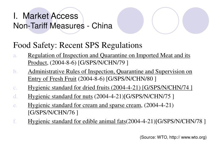 I.  Market Access