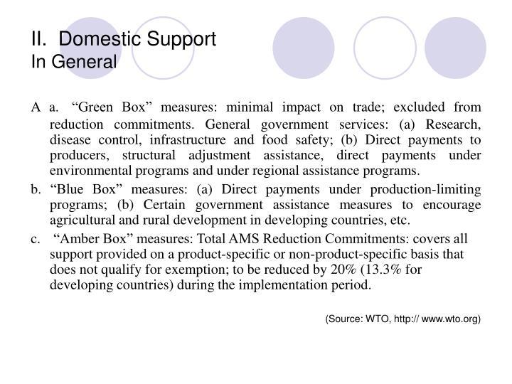 II.  Domestic Support