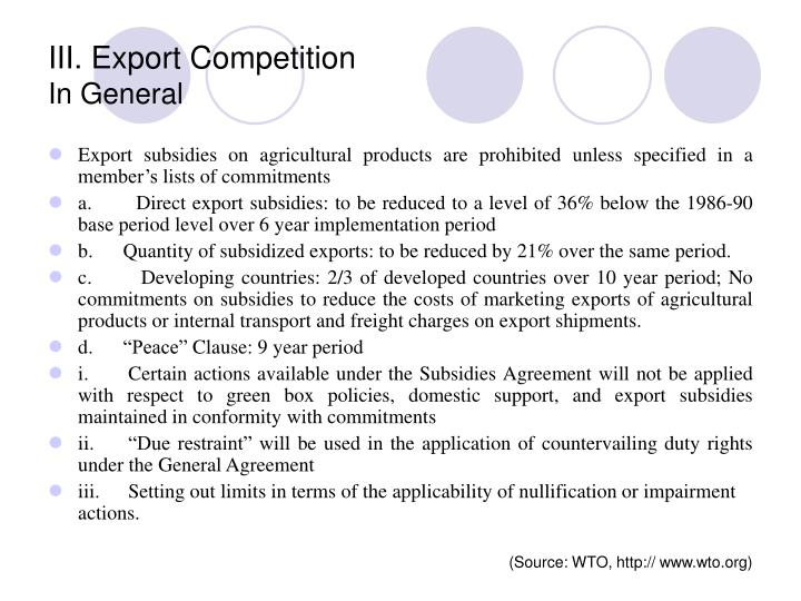 III. Export Competition