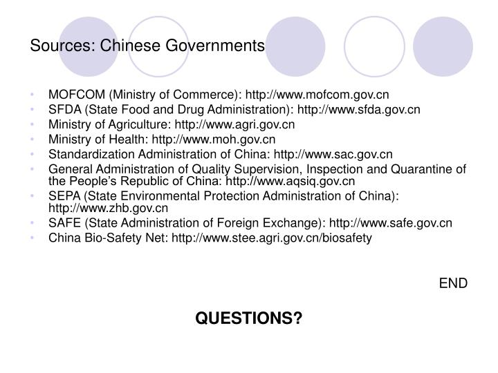 Sources: Chinese Governments