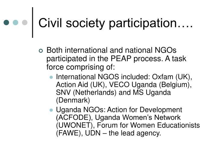 Civil society participation….