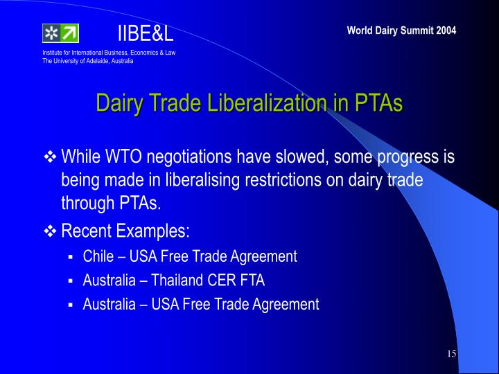 Dairy Trade Liberalization in PTAs