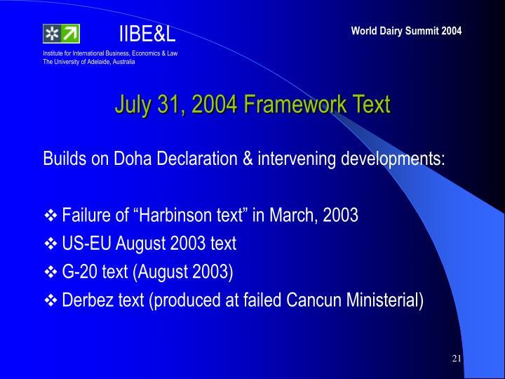 July 31, 2004 Framework Text