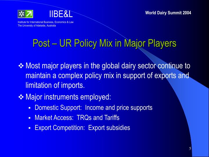 Post – UR Policy Mix in Major Players
