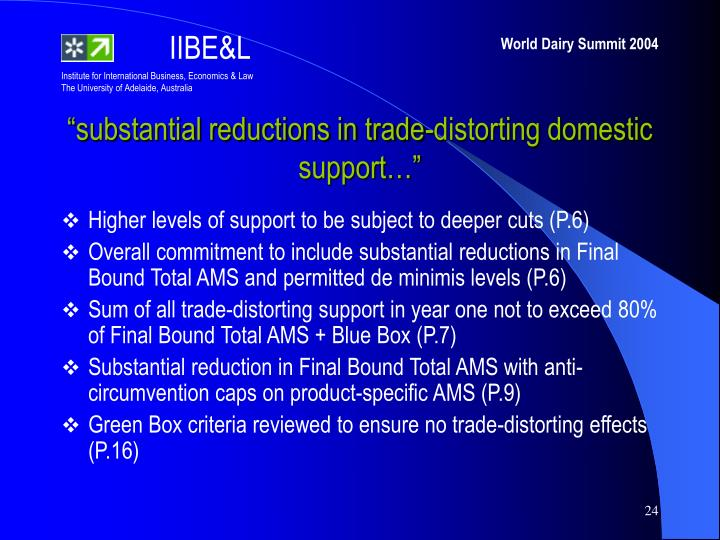 """""""substantial reductions in trade-distorting domestic support…"""""""