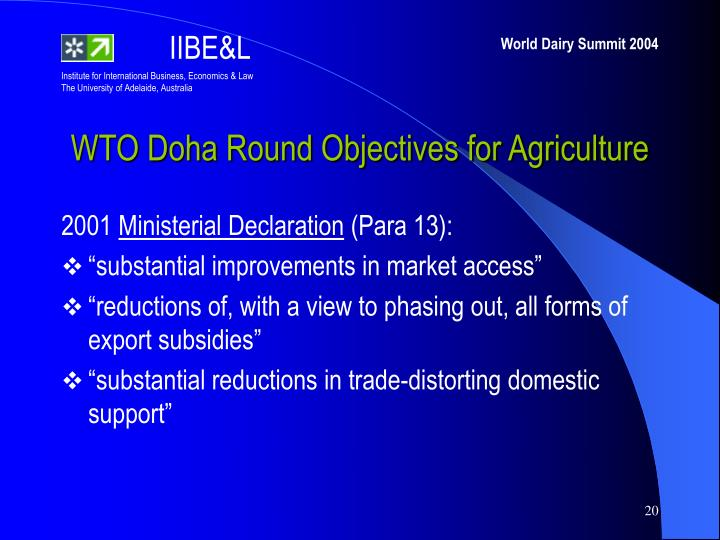WTO Doha Round Objectives for Agriculture