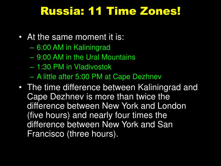 Russia: 11 Time Zones!