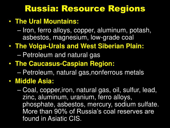 Russia: Resource Regions
