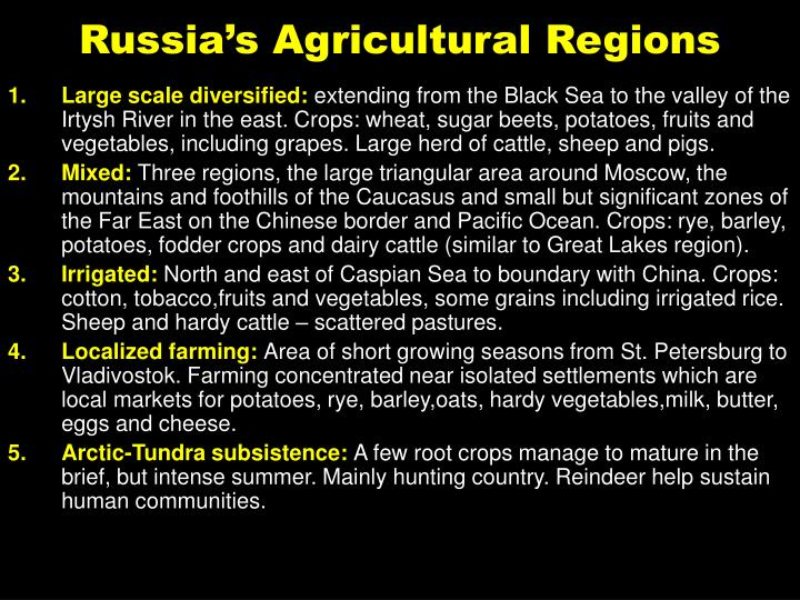 Russia's Agricultural Regions