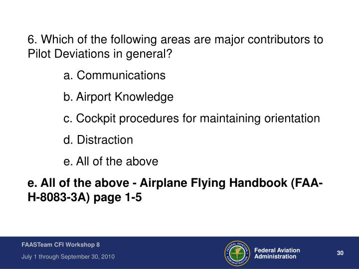 6. Which of the following areas are major contributors to Pilot Deviations in general?