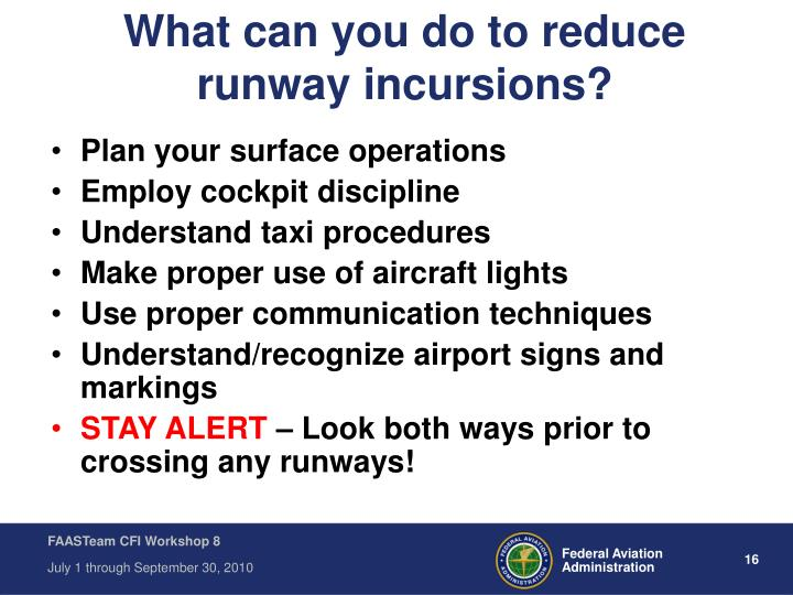 What can you do to reduce runway incursions?