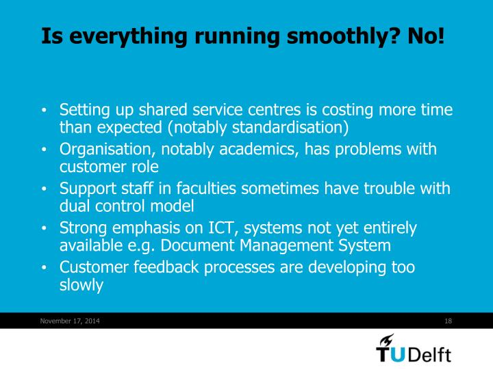 Is everything running smoothly? No!