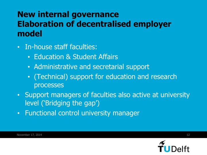 New internal governance
