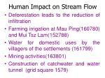 human impact on stream flow