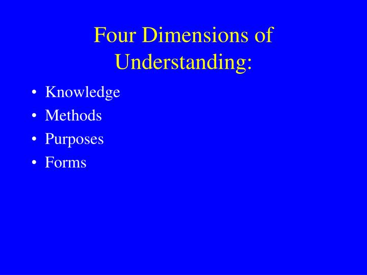Four Dimensions of Understanding: