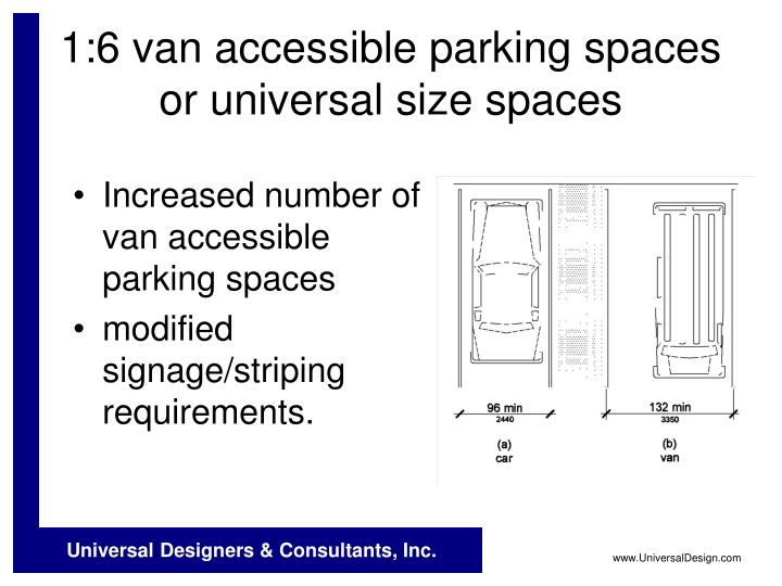 1:6 van accessible parking spaces or universal size spaces