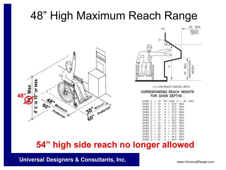"""54"""" high side reach no longer allowed"""