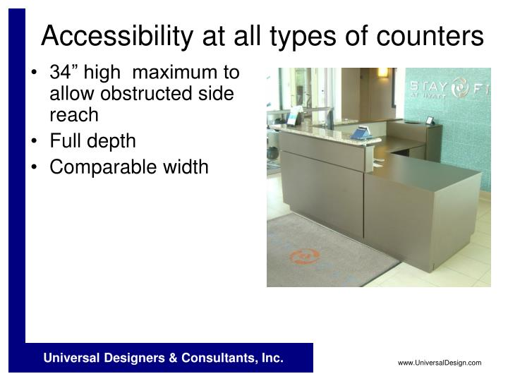 Accessibility at all types of counters