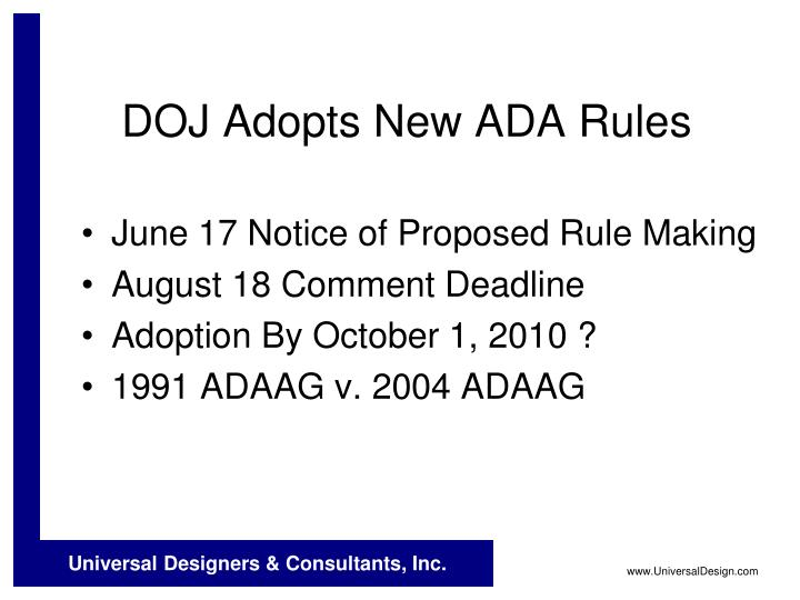 DOJ Adopts New ADA Rules