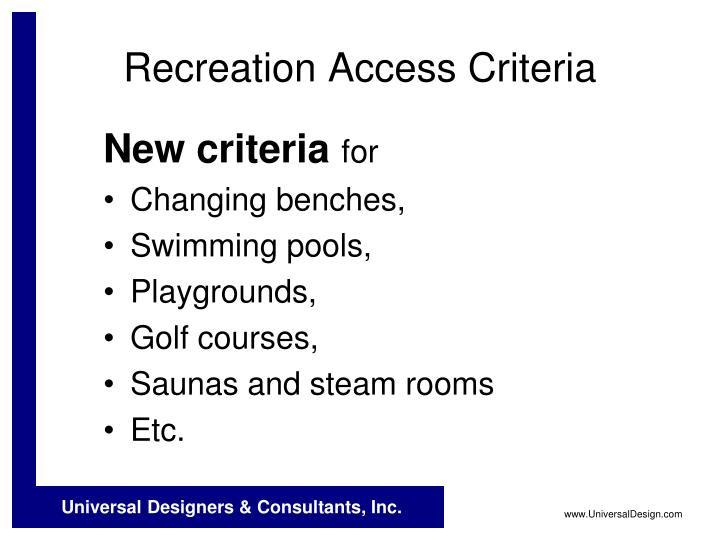 Recreation Access Criteria