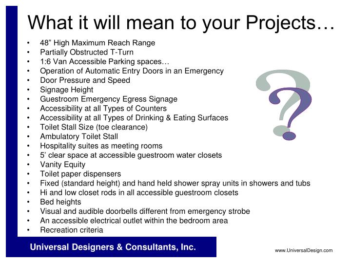 What it will mean to your Projects…