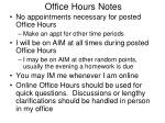 office hours notes