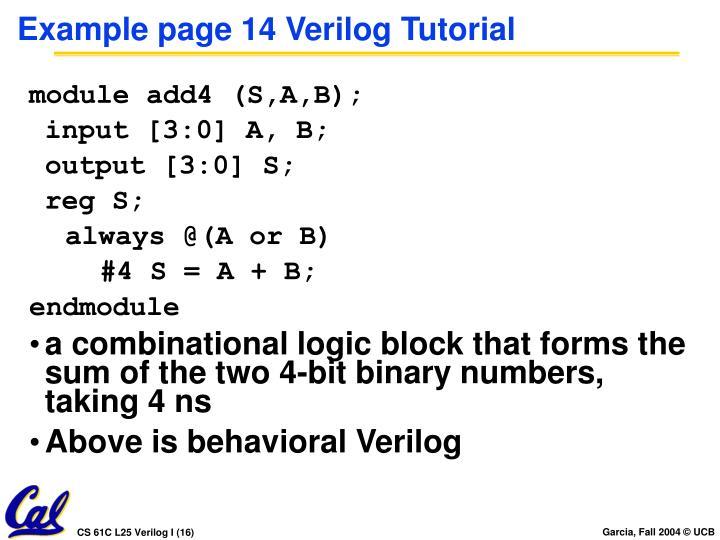 Example page 14 Verilog Tutorial