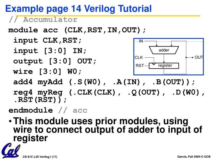 Example page 14 Verilog Tutorial