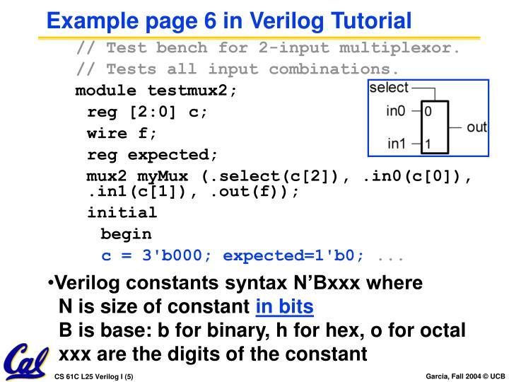 Example page 6 in Verilog Tutorial