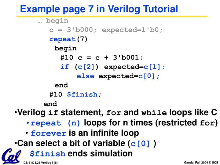Example page 7 in Verilog Tutorial