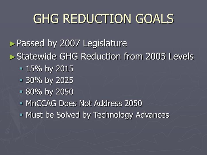 GHG REDUCTION GOALS