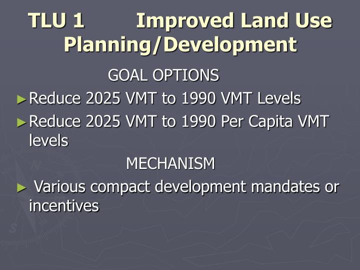 TLU 1 Improved Land Use Planning/Development