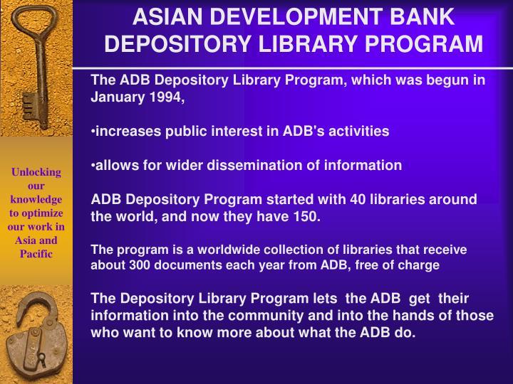 ASIAN DEVELOPMENT BANK DEPOSITORY LIBRARY PROGRAM