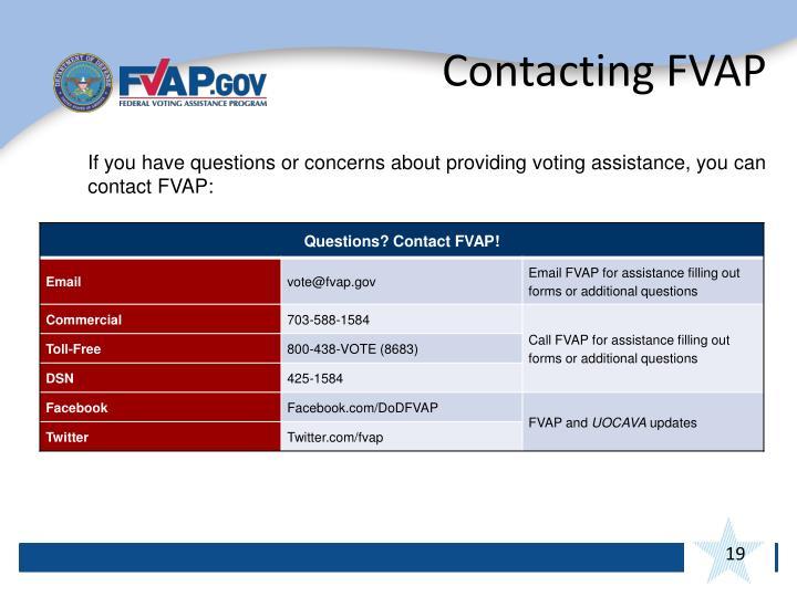 Contacting FVAP