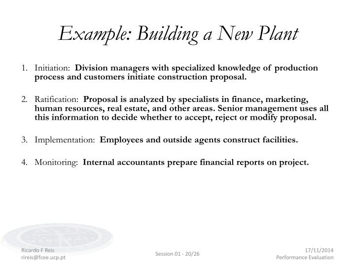 Example: Building a New Plant