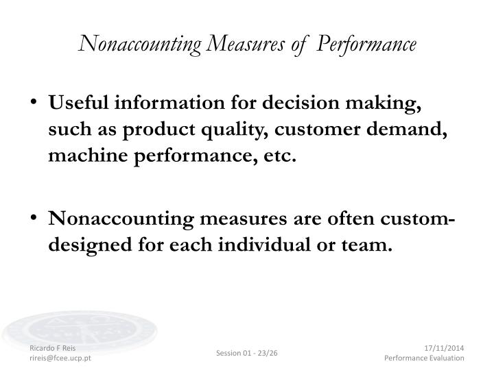 Nonaccounting Measures of Performance