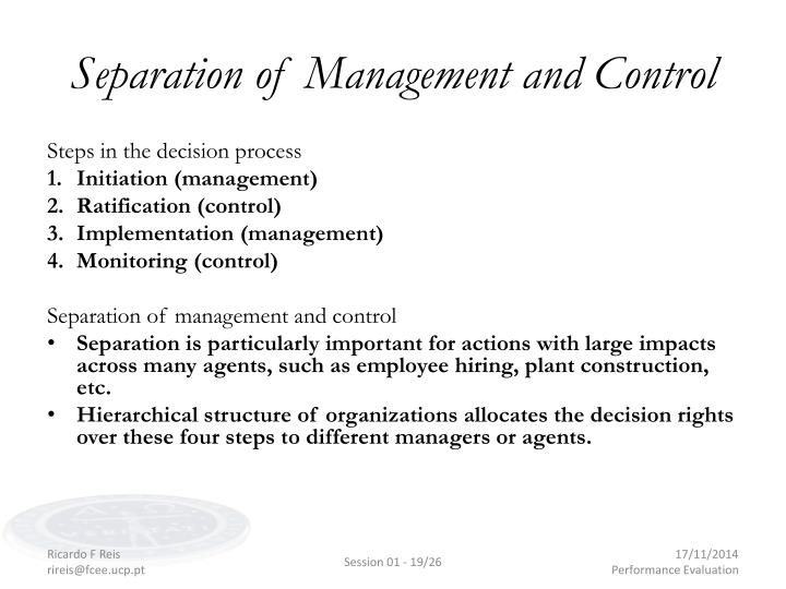 Separation of Management and Control