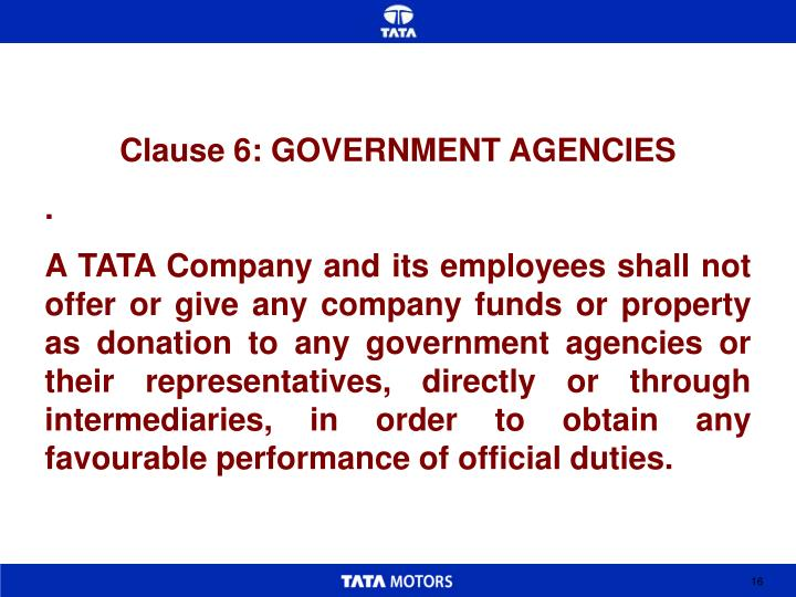 Clause 6: GOVERNMENT AGENCIES