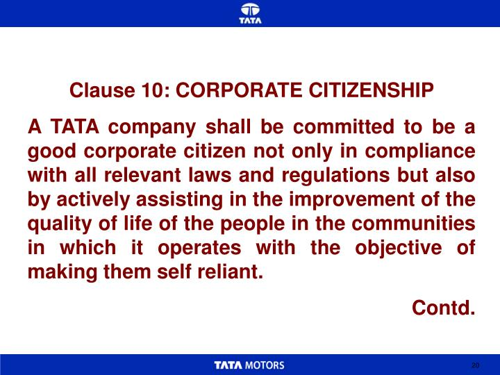 Clause 10: CORPORATE CITIZENSHIP