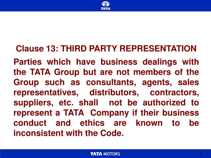 Clause 13: THIRD PARTY REPRESENTATION