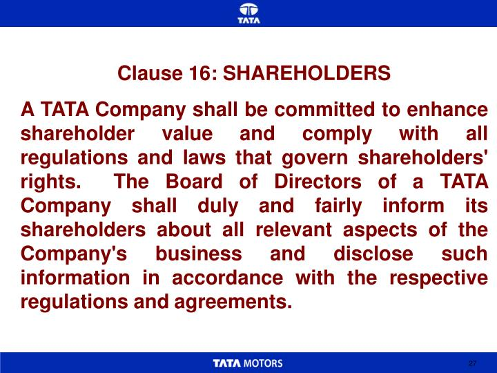 Clause 16: SHAREHOLDERS