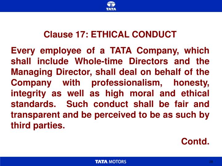 Clause 17: ETHICAL CONDUCT