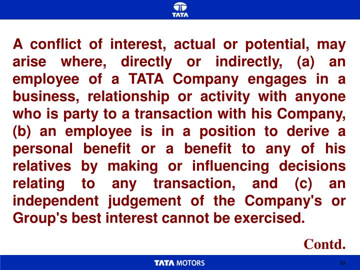 A conflict of interest, actual or potential, may arise