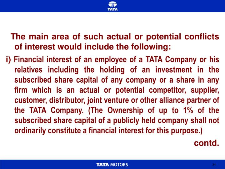 The main area of such actual or potential conflicts of interest would include the following: