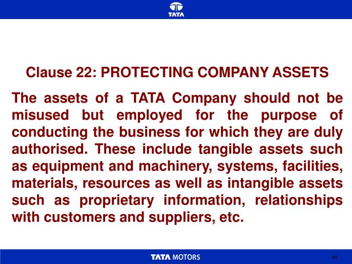 Clause 22: PROTECTING COMPANY ASSETS
