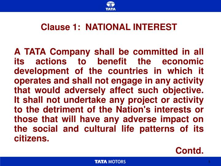 Clause 1:  NATIONAL INTEREST