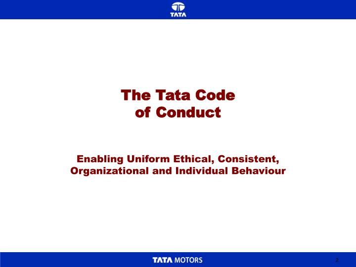 The tata code of conduct