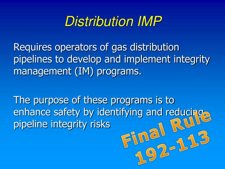 Distribution IMP